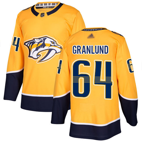 Predators #64 Mikael Granlund Yellow Home Authentic Stitched Hockey Jersey