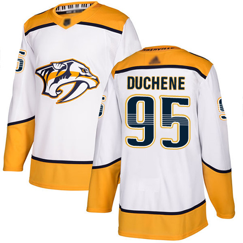 Predators #95 Matt Duchene White Road Authentic Stitched Hockey Jersey