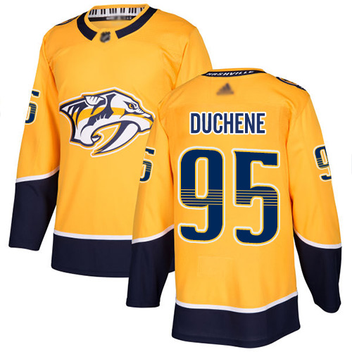 Predators #95 Matt Duchene Yellow Home Authentic Stitched Hockey Jersey