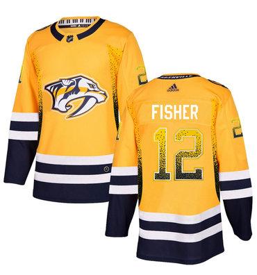 Predators 12 Mike Fisher Gold Drift Fashion Adidas Jersey