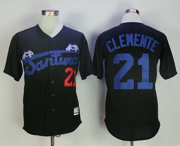 Puerto Rico Cangrejeros De Santurce 21 Roberto Clemente Black Throwback Baseball Jersey