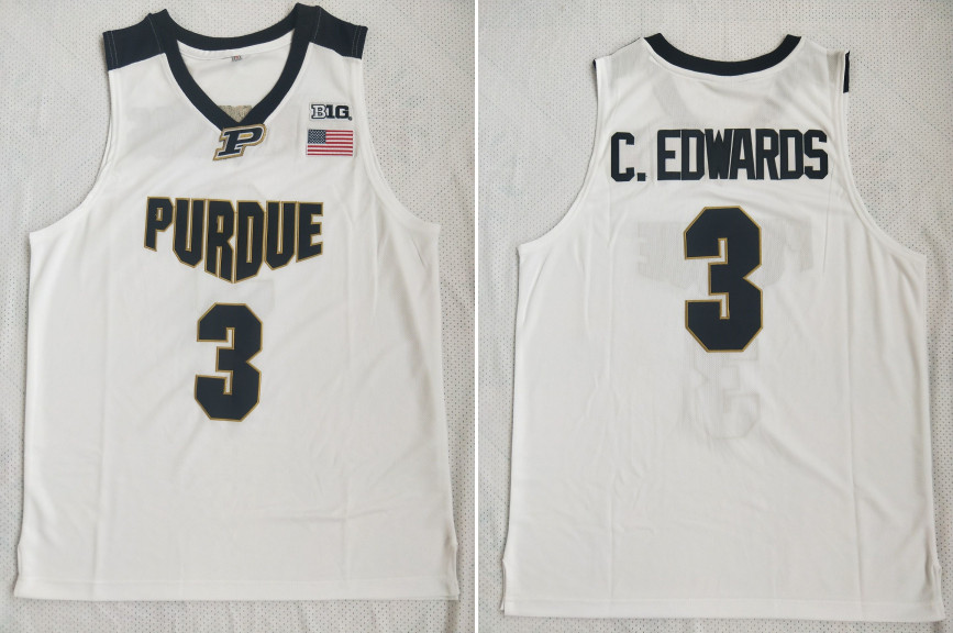 Purdue 3 Carsen Edwards White College Basketball Jersey
