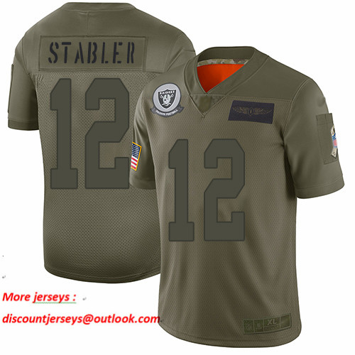 Raiders #12 Kenny Stabler Camo Men's Stitched Football Limited 2019 Salute To Service Jersey