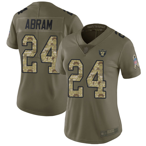 Raiders #24 Johnathan Abram Olive Camo Women's Stitched Football Limited 2017 Salute to Service Jersey