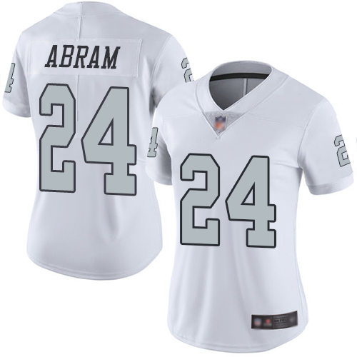 Raiders #24 Johnathan Abram White Women's Stitched Football Limited Rush Jersey