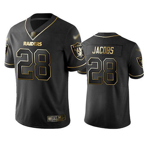 Raiders #28 Josh Jacobs Black Men's Stitched Football Limited Golden Edition Jersey