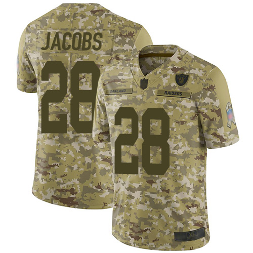 Raiders #28 Josh Jacobs Camo Men's Stitched Football Limited 2018 Salute To Service Jersey