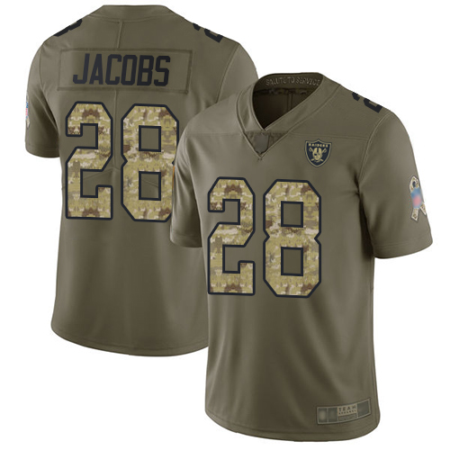 Raiders #28 Josh Jacobs Olive Camo Men's Stitched Football Limited 2017 Salute To Service Jersey