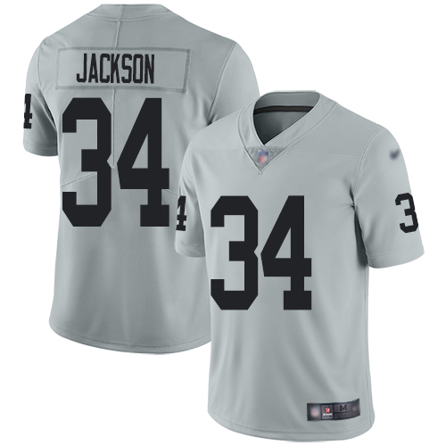 Raiders #34 Bo Jackson Silver Men's Stitched Football Limited Inverted Legend Jersey