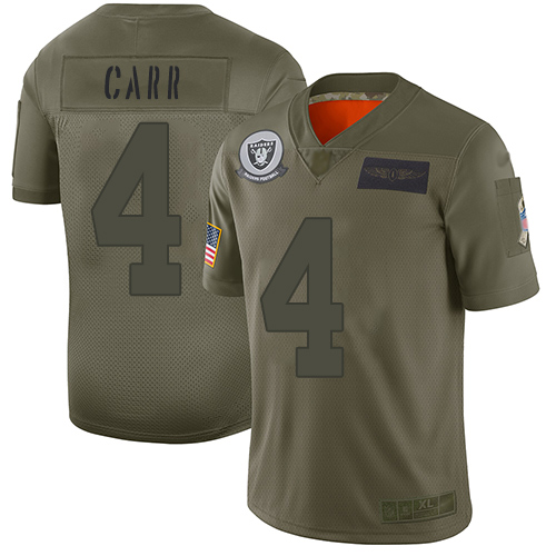 Raiders #4 Derek Carr Camo Men's Stitched Football Limited www.usanfljerseys.net 2019 Salute To Service Jersey