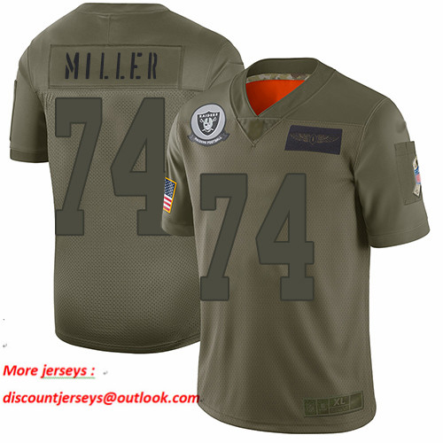 Raiders #74 Kolton Miller Camo Men's Stitched Football Limited 2019 Salute To Service Jersey