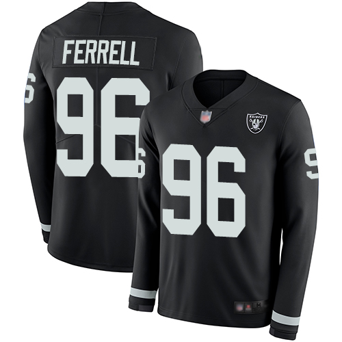 Raiders #96 Clelin Ferrell Black Team Color Men's Stitched Football Limited Therma Long Sleeve Jersey