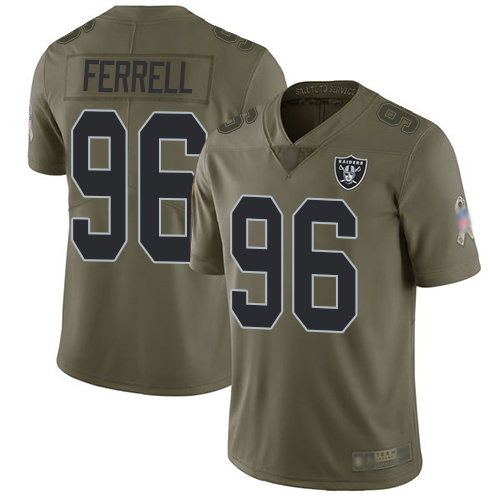 Raiders #96 Clelin Ferrell Olive Men's Stitched Football Limited 2017 Salute To Service Jersey
