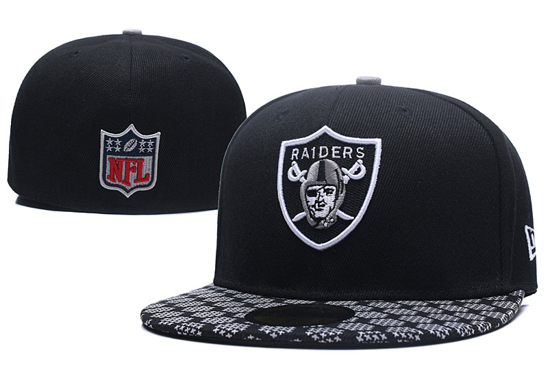 Raiders Team Logo Black Fitted Hat LX