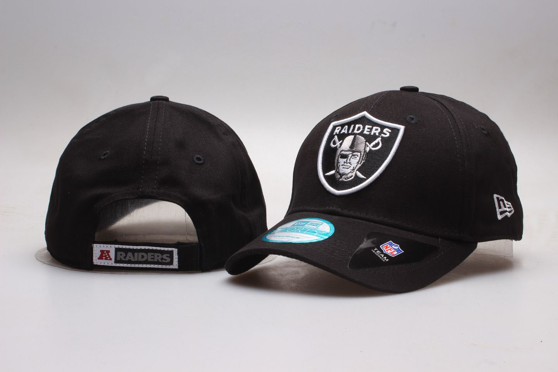 Raiders Team Logo Black Peaked Adjustable Hat YP