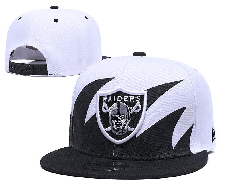 Raiders Team Logo White Black Adjustable Hat GS