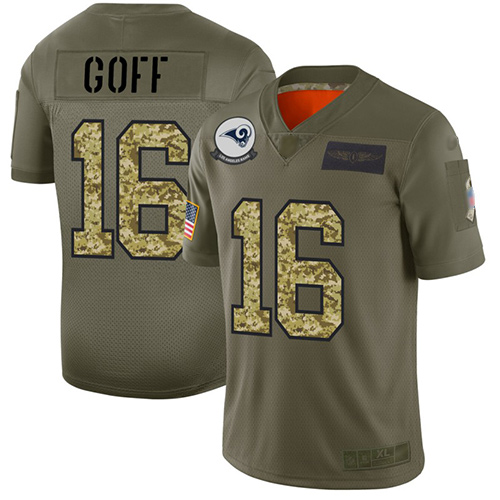 Rams #16 Jared Goff Olive Camo Men's Stitched Football Limited 2019 Salute To Service Jersey