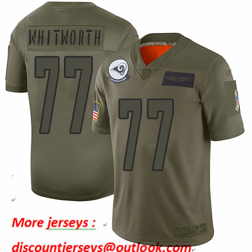Rams #77 Andrew Whitworth Camo Youth Stitched Football Limited 2019 Salute to Service Jersey