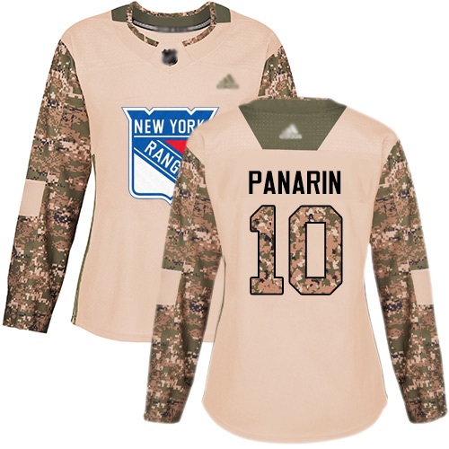 Rangers #10 Artemi Panarin Camo Authentic 2017 Veterans Day Women's Stitched Hockey Jersey