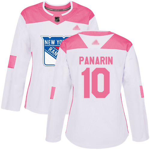 Rangers #10 Artemi Panarin White Pink Authentic Fashion Women's Stitched Hockey Jersey