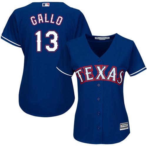 Rangers #13 Joey Gallo Blue Alternate Women's Stitched Baseball Jersey