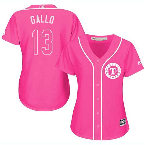 Rangers #13 Joey Gallo Pink Fashion Women's Stitched Baseball Jersey