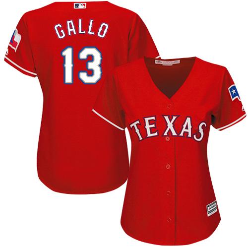 Rangers #13 Joey Gallo Red Alternate Women's Stitched Baseball Jersey
