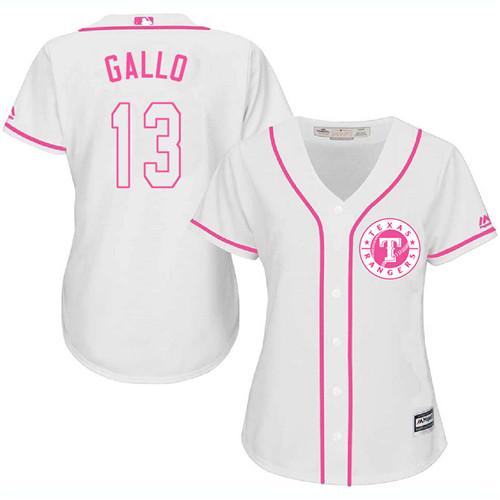 Rangers #13 Joey Gallo White Pink Fashion Women's Stitched Baseball Jersey
