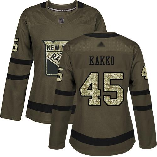 Rangers #45 Kaapo Kakko Green Salute to Service Women's Stitched Hockey Jersey