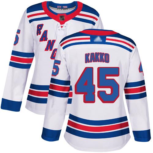 Rangers #45 Kaapo Kakko White Road Authentic Women's Stitched Hockey Jersey