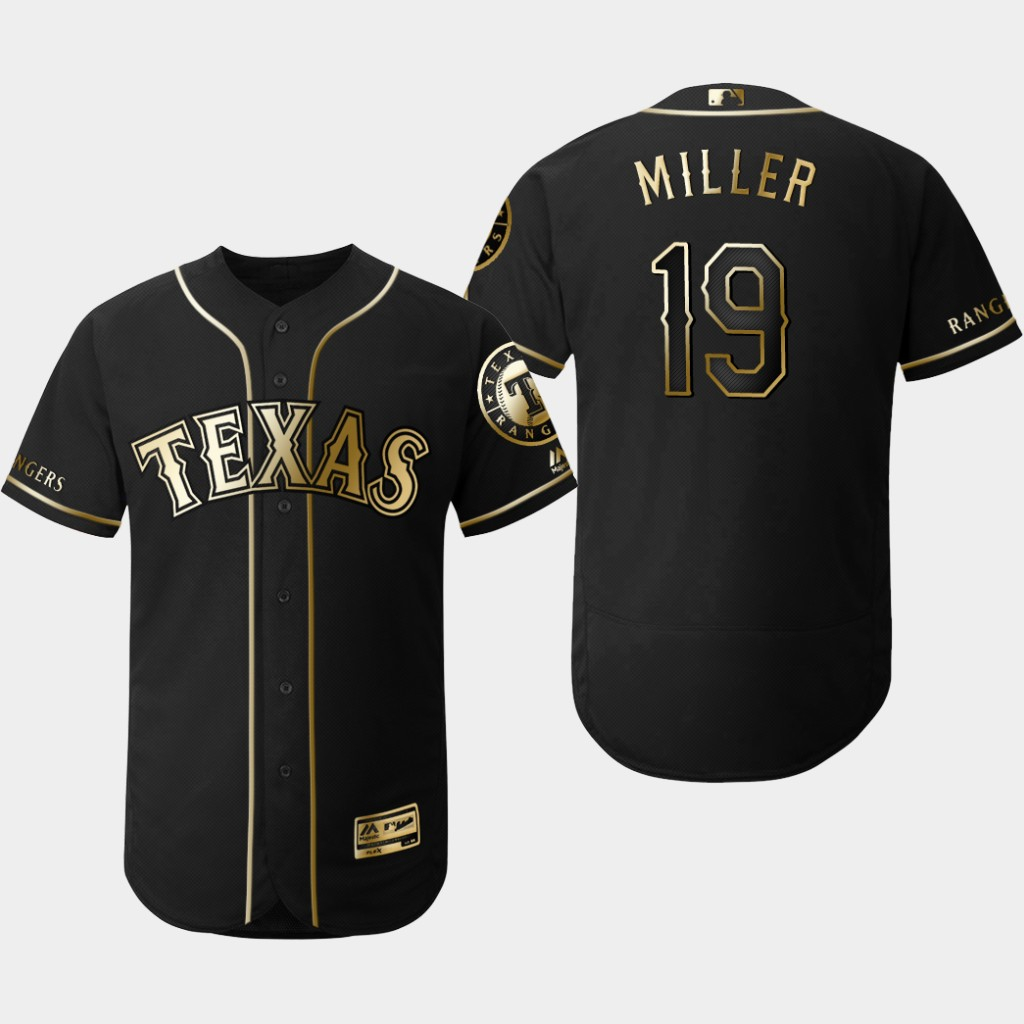 Rangers 19 Shelby Miller Black Gold Flexbase Jersey