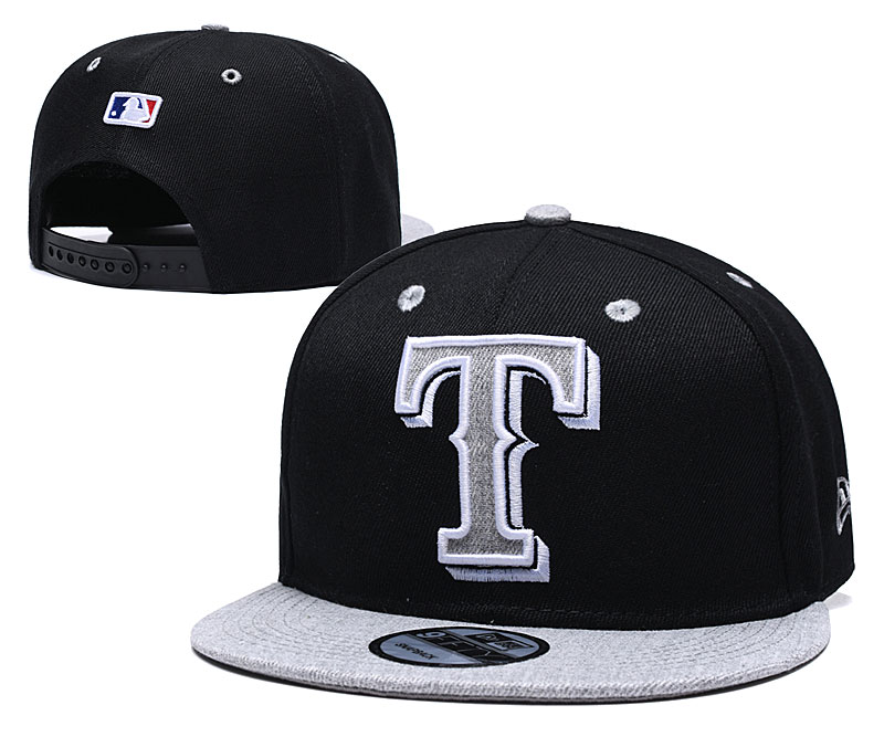 Rangers Team Logo Black Gray Adjustable Hat TX