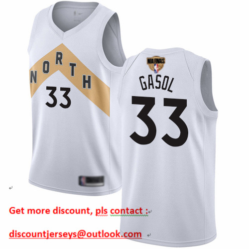 Raptors #33 Marc Gasol White 2019 Finals Bound Basketball Swingman City Edition 2018 19 Jersey