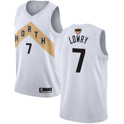 Raptors #7 Kyle Lowry White 2019 Finals Bound Basketball Swingman City Edition 2018 19 Jersey