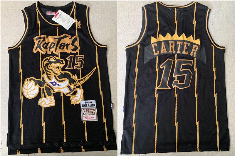 Raptors 15 Vince Carter Black 1998-99 Hardwood Classics Mesh Jersey