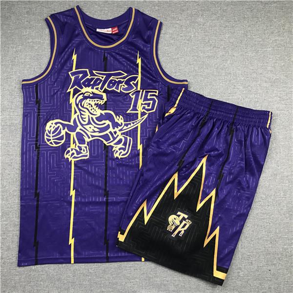 Raptors 15 Vince Carter Purple 1998-99 Hardwood Classics Jersey(With Shorts)