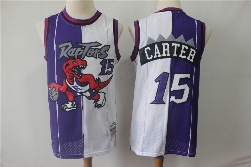 Raptors 15 Vince Carter Purple White Split Swingman Jersey