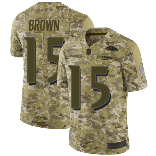 Ravens #15 Marquise Brown Camo Men's Stitched Football Limited 2018 Salute To Service Jersey