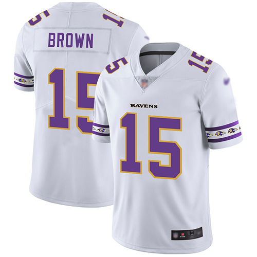 Ravens #15 Marquise Brown White Men's Stitched Football Limited Team Logo Fashion Jersey