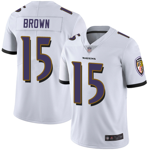 Ravens #15 Marquise Brown White Men's Stitched Football Vapor Untouchable Limited Jersey