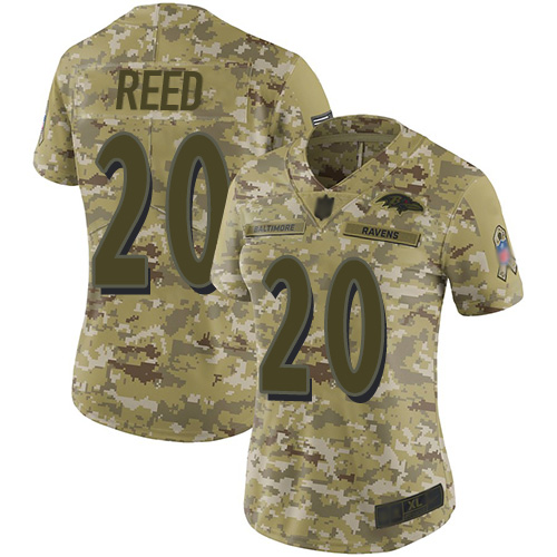 Ravens #20 Ed Reed Camo Women's Stitched Football Limited 2018 Salute to Service Jersey