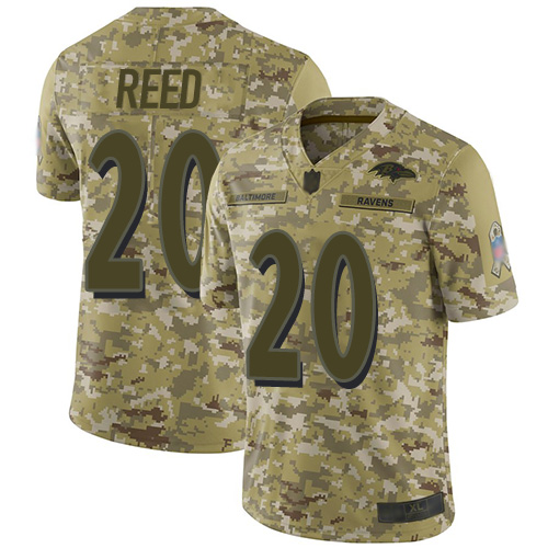 Ravens #20 Ed Reed Camo Youth Stitched Football Limited 2018 Salute to Service Jersey