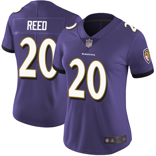 Ravens #20 Ed Reed Purple Team Color Women's Stitched Football Vapor Untouchable Limited Jersey