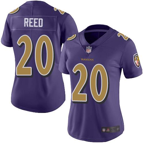 Ravens #20 Ed Reed Purple Women's Stitched Football Limited Rush Jersey