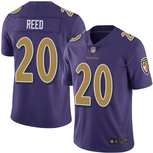 Ravens #20 Ed Reed Purple Youth Stitched Football Limited Rush Jersey