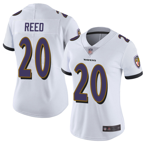 Ravens #20 Ed Reed White Women's Stitched Football Vapor Untouchable Limited Jersey