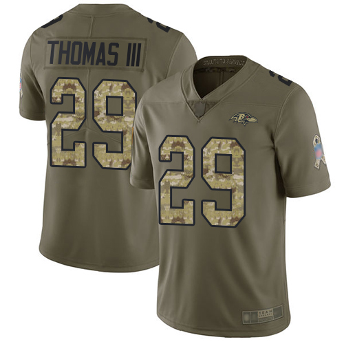 Ravens #29 Earl Thomas III Olive Camo Men's Stitched Football Limited 2017 Salute To Service Jersey