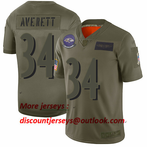 Ravens #34 Anthony Averett Camo Men's Stitched Football Limited 2019 Salute To Service Jersey