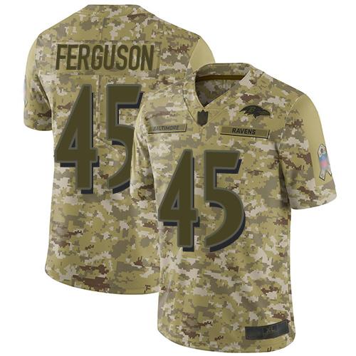 Ravens #45 Jaylon Ferguson Camo Men's Stitched Football Limited 2018 Salute To Service Jersey