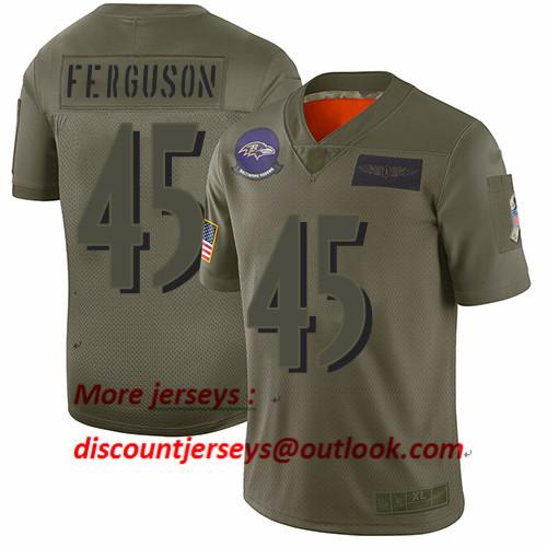 Ravens #45 Jaylon Ferguson Camo Men's Stitched Football Limited 2019 Salute To Service Jersey